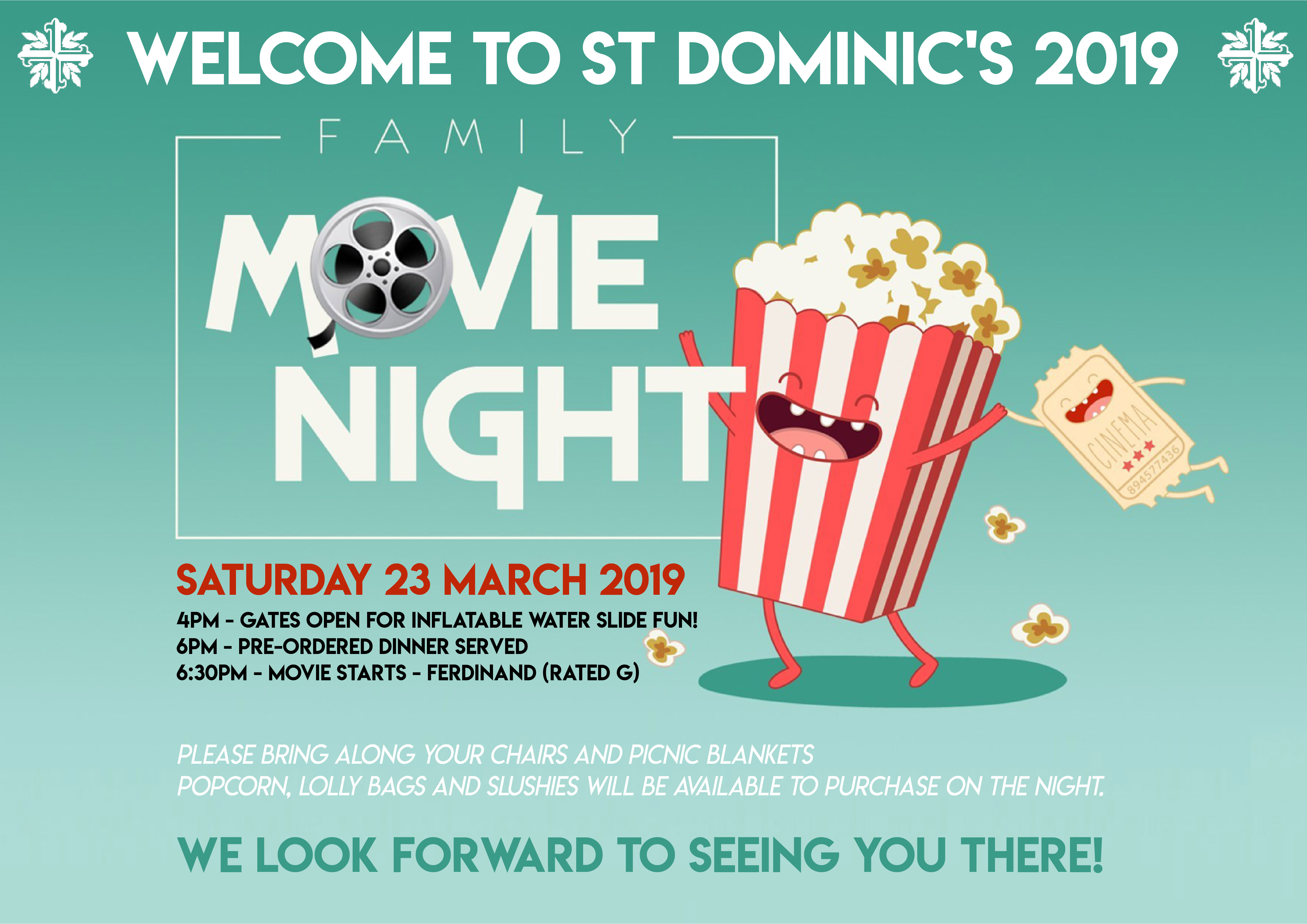 P&F Welcome to St Dominic's Movie Night Flyer