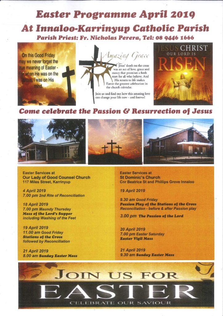 Easter Programme at Innaloo-Karrinyup Parish