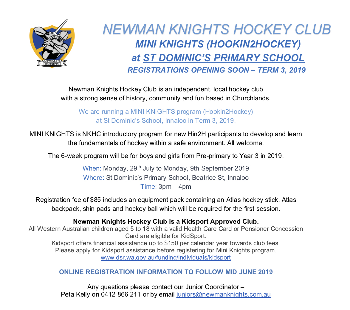 PP to Year 3 Mini Knights Hockey Program Coming to St Dom's in Term 3!