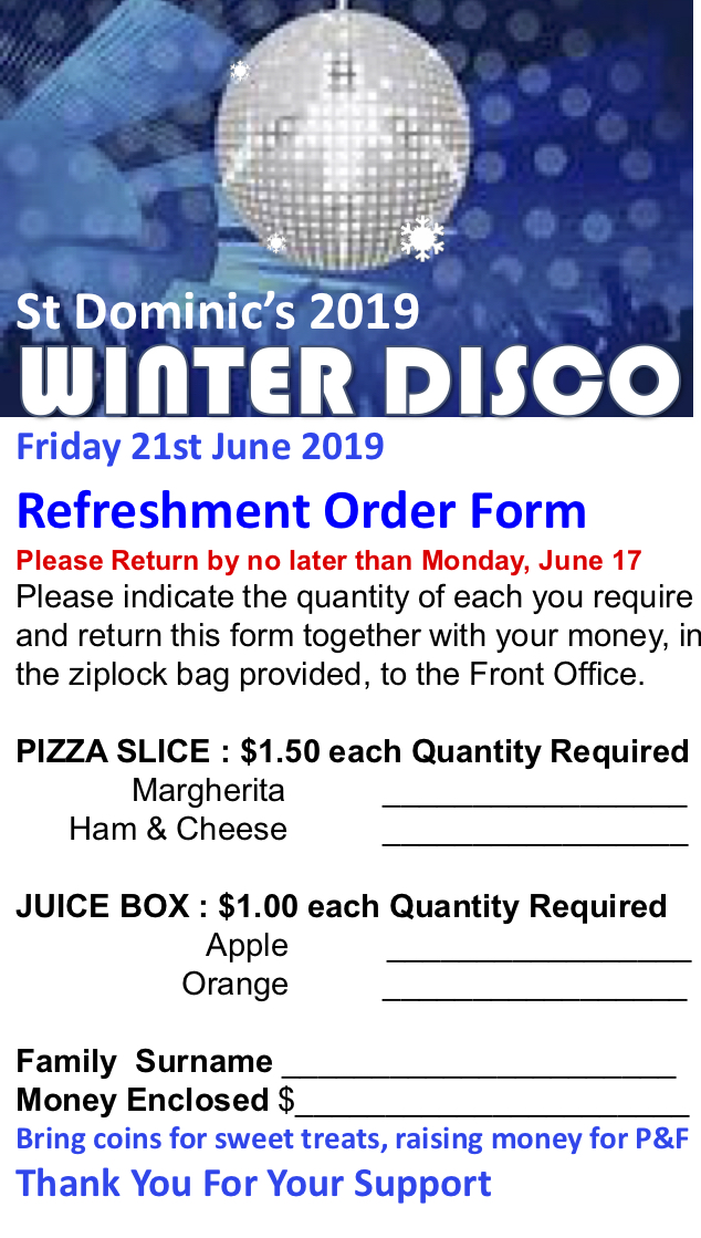 Final Food Order for School Disco, Monday, 17th June (By Friday would be helpful)