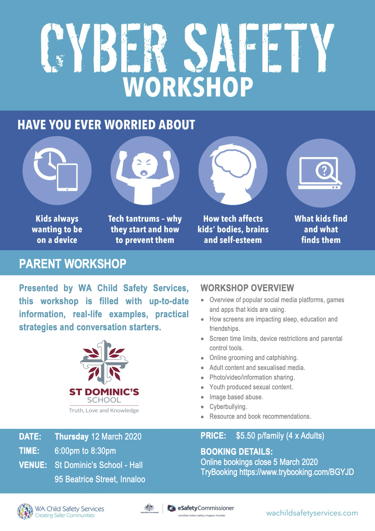 CyberSafetyWorkshop at St Dominic's in 2020 - Presented byWA Child Safety Services