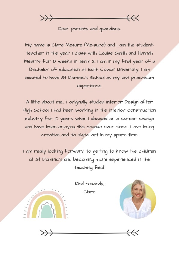 Have you met our Term 2 Year 1 Prac Teacher Miss Clare Mesure