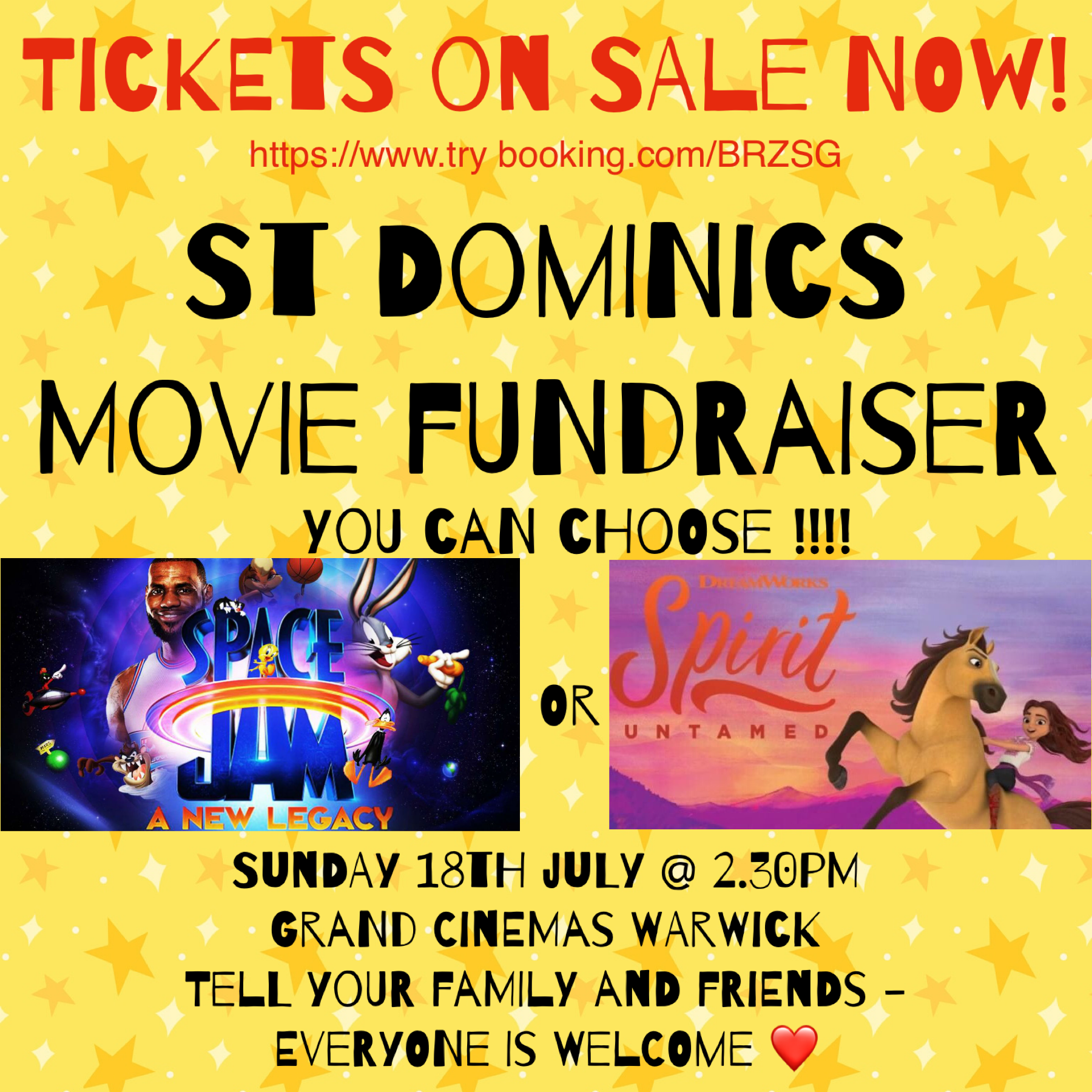 St Dominic's Movie Fundraiser - Tickets on sale now via the link in the poster!