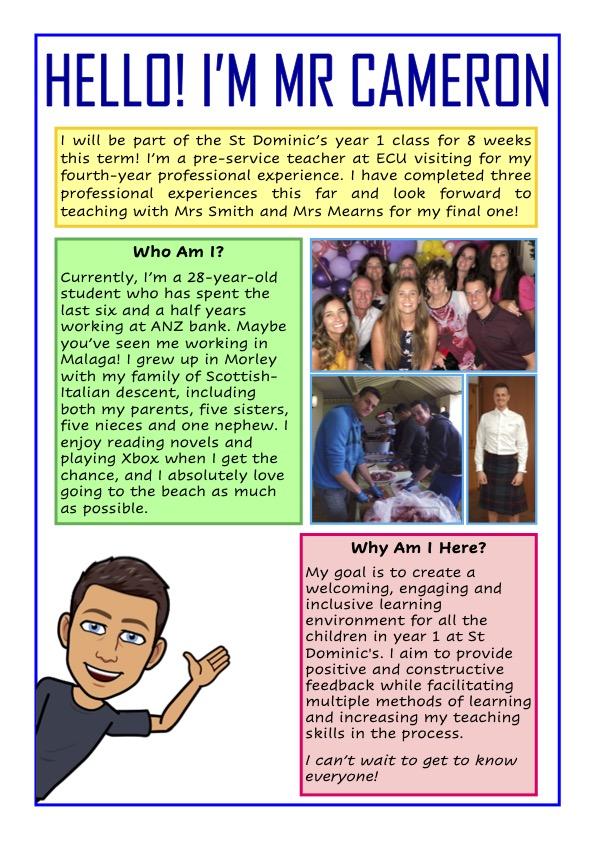 Meet Mr David Cameron our Term 4 ECU Pre-Service Teacher